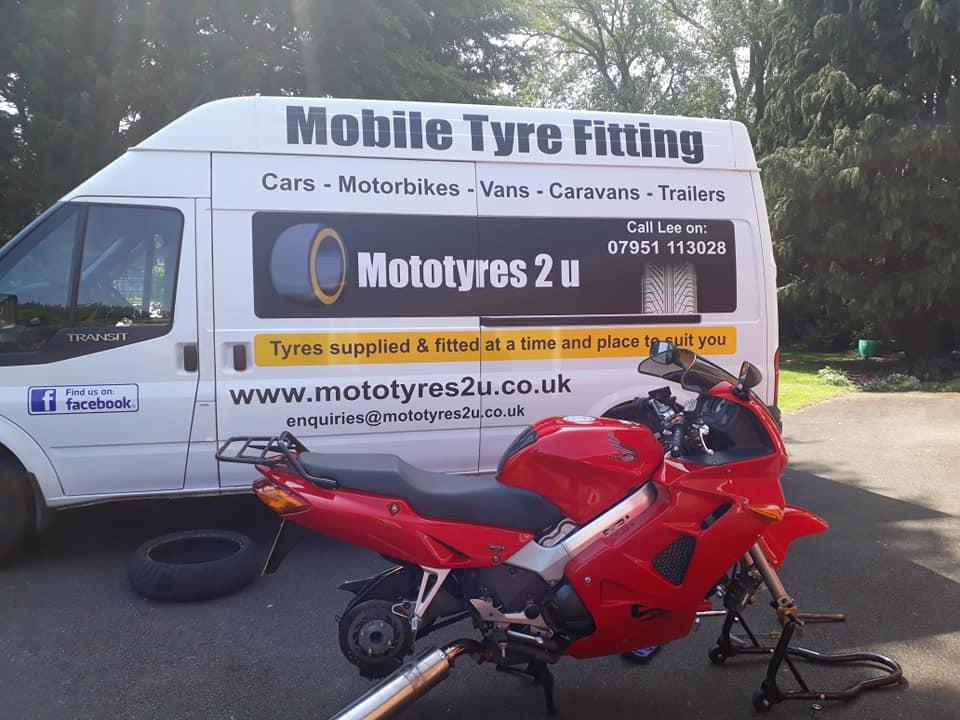 Mototyres 2 u van replacing motorbike tyres in Spalding