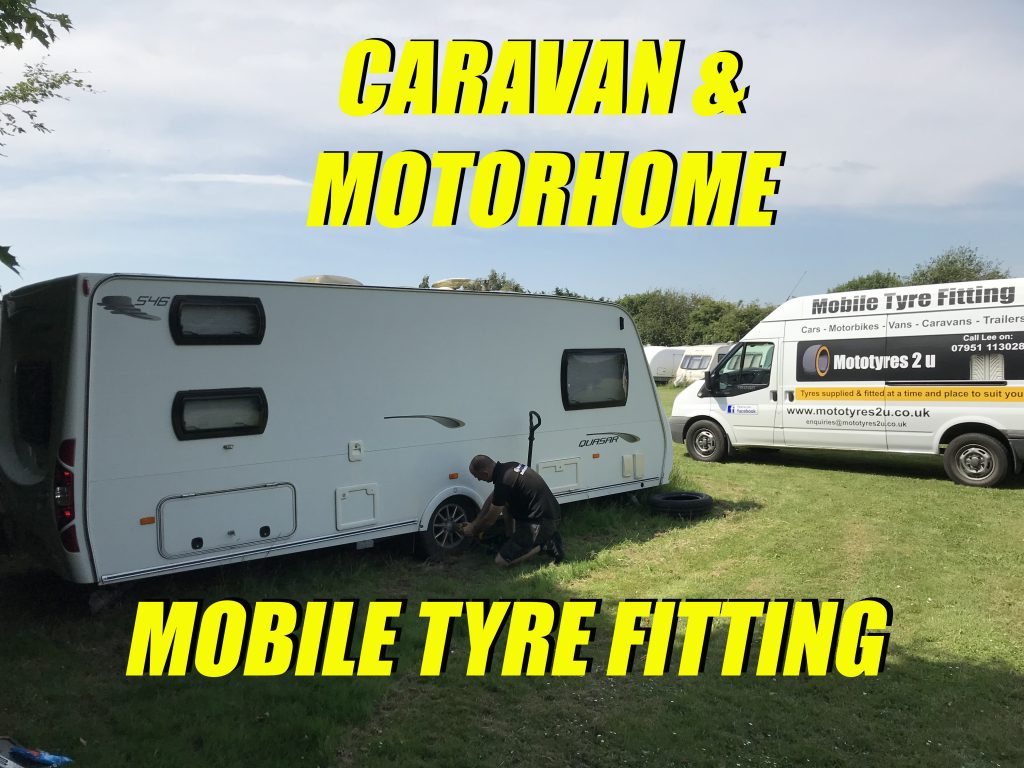 Mototyres 2 u Mobile Caravan tyre fitting Motorhome Camper Van Trailer Tent puncture repairs Holbeach Lincolnshire Cambridgeshire fitter lee cooper on driveway home or storage compound at campsite