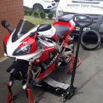 Yamaha R1 Mototyres 2u mobile motorcycle tyre fitting in Lincolnshire