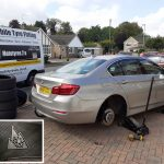 Winter tyres fitted on a BMW 5 series by Mototyres 2 u Holbeach tyre fitter