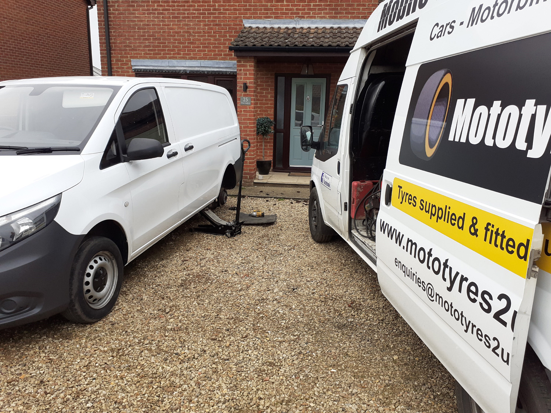 Mototyres 2 u White Mercedes Van on drive Tyre fitter Spalding Lincolnshire